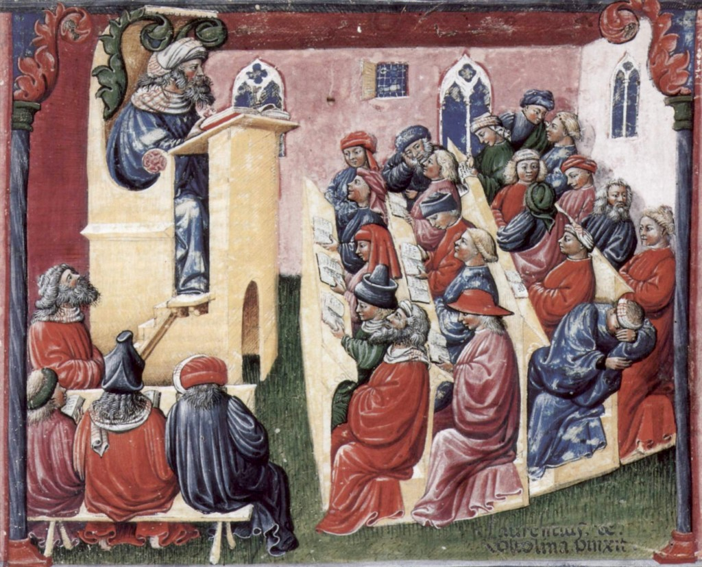 Henry of Germany delivers a lecture to university students in 14th-century Bologna